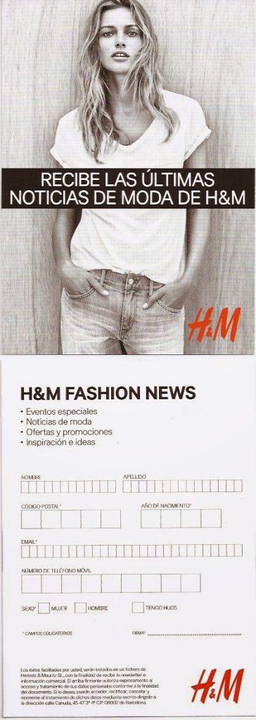 Tarjetón H&M FASHION NEWS
