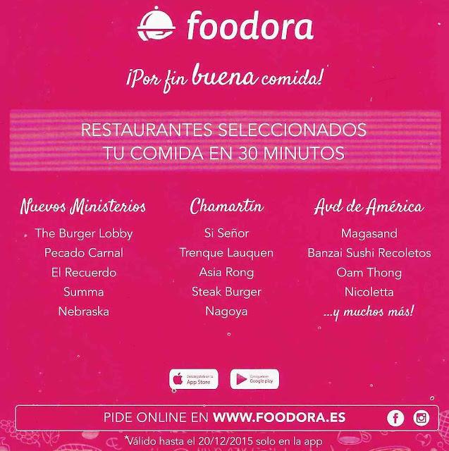 Trasera folleto Foodora comida a domicilio